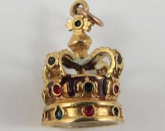 King's Crown With Enamel 10K Gold Vintage Charm For Bracelet