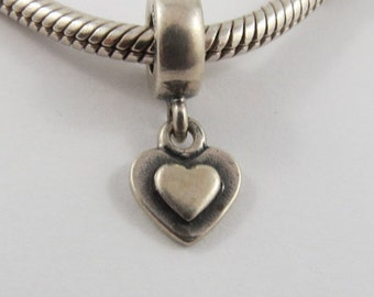 Hanging Two-Toned Heart Sterling Silver Screw Core Pandora Charm