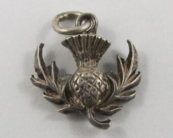 Scottish Thistle Sterling Silver Vintage Charm For Bracelet