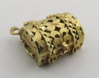 Jewelry Box 14K Mechanical Gold Vintage Charm For Bracelet