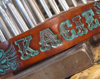 Leather Dog Collar w Turquoise Tooled  ( Western Dog Collar ,, tooled leather dog collar ,, personalized dog collar ) The Diamond Dogs