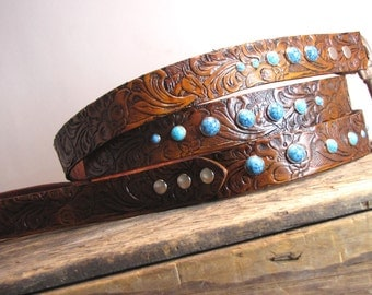 Leather Dog Leash (Western Dog Leash,Turquoise Dog Leash,Tooled Leather Dog Leash,Dog Leash,Bling Dog Leash,Dog Gift,USA) the Diamond Dogs