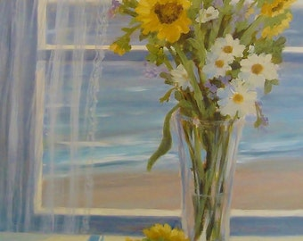 Beach art, 11 x 14 print, from original painting  by Tina OBrien, Sunflower Still life with daisies, cottage, shabby chic, coastal, nautical
