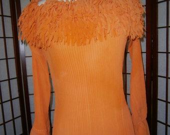 Women's 70's -Look Orange Blouse with Fringe