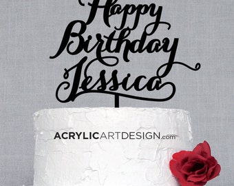 Happy Birthday Cake Topper, custom made, laser cut with your name, personalized by AcrylicArtDesign