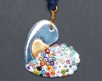 "Ceramic necklace handmade  ""Murrine"""