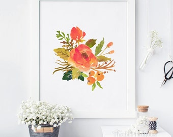 Fall Floral, Fall Decor, Floral Art, Floral Wall Art, Fall Printable, Fall Leaves, Fall Leaf, Fall Art, Fall Wall Art Printable, Autumn Art