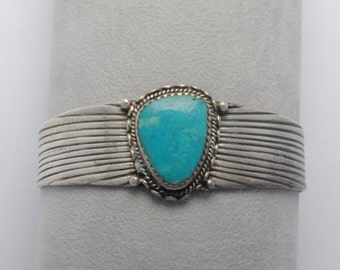 Native american turquoise cuff bracelet and sterling silver