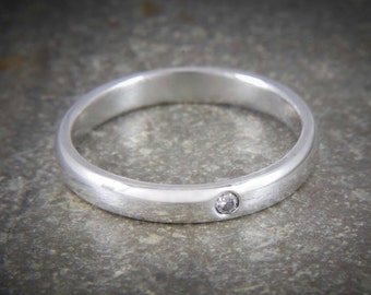 Silver diamond ring, diamond wedding band, flush set ring, stacking ring, silver band ring