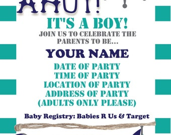 Ahoy its a boy invitations