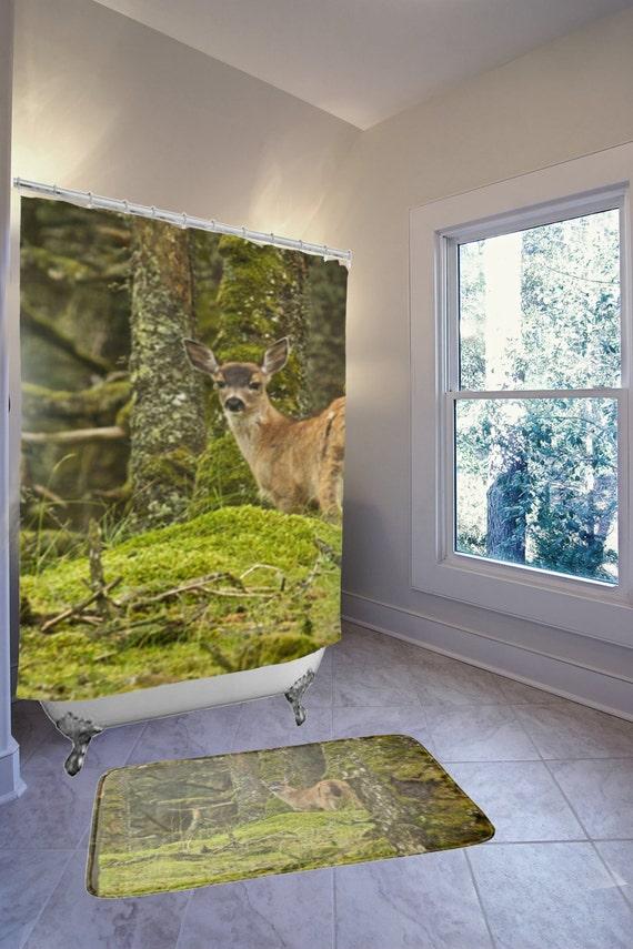 Hunting Bathroom Decor Set : Items similar to deer bathroom set decor green