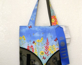 RESERVED for Cindy ! First Payment Blue Sky Floral Panorama Art Handbag  Smoky City Applique Quilted Tote  Zippered Purse Original Design