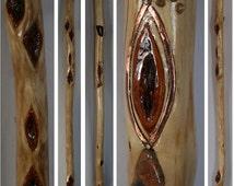 Copper Inlay Fish Design on 64 in. Tall Diamond Willow Walking Stick has 16 Wood Diamonds Polished Stones Handmade Trekking Pole Hiking Cane
