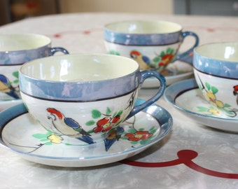 Adorable Vintage Lusterware Birds Tea Cups and Saucers, Japan, Set of 4