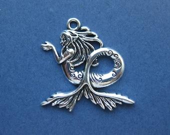 4 Mermaid Charms -  Mermaid Pendants - Mermaid Charm Pendant - Antique Silver - 28mm x 28mm -- (No.77-10587)