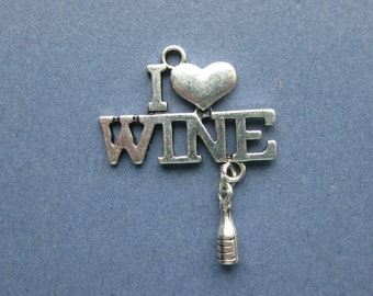 5 I Love Wine Charms - I Love Wine Pendants - Wine Bottle - I Love Wine - Wine Charm - Antique Silver - 35mm x 27mm --(No.58-10228)