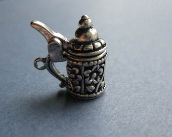 5 Beer Stein Charms - Beer Stein Pendants - Beer Steins - Stein - Antique Silver - 19mm x 18mm --(U-Y1-10659)