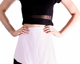 White A line skirt with black lace