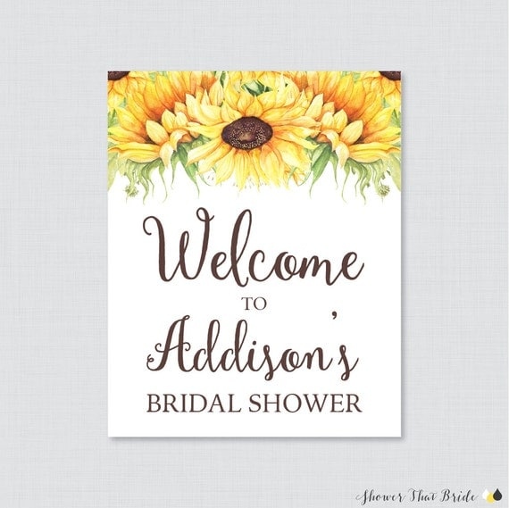 Sunflower Bridal Shower Welcome Sign Printable Rustic Bridal