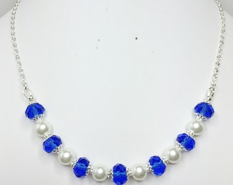 Blue Crystal Bridal Necklace Blue and White Jewellery Royal Blue Bridesmaid Gift Mother of the Bride Gift Royal Blue Wedding Party Gift
