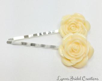 Lemon Hair Pins Yellow Bobby Pins Lemon Rose Hair Accessory Yellow Wedding Gift Bridesmaid Gift Flower Girl Gift Spring Wedding Hair Clips
