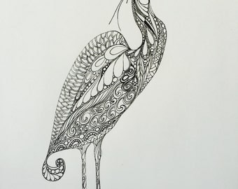 Original Heron drawing,Zentangle heron,bird art, Zentangle bird,black and white art,ink drawing,wall art,original illustration,ink bird art