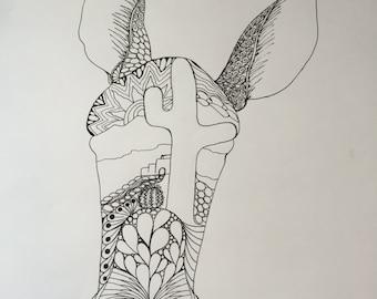 Zentangle donkey art, donkey art, black and white drawing, southwestern art, zentangle donkey, pen and ink drawing, original drawing