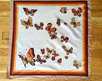 Vintage 1970s Butterfly Scarf - Brown/Orange/Yellow Monarch Butterflies