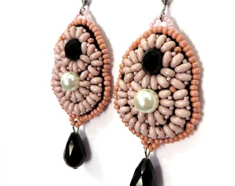 Pink earrings romantic / Black crystal earrings pink / Anniversary gift earrings embroidered / Vegan earrings / Dangle Drop Earrings for her