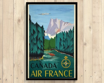 Canada Travel Poster - Travel Print Wall Art Dorm Poster Retro Travel Poster Home Decor Air France Poster Airlines Poster -