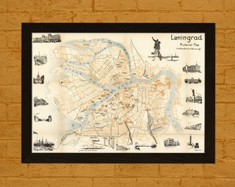Old Leningrad Map 1960 - Ancient Map Wall Art Antique Map Poster Old Map Print Map Leningrad Russian Map Soviet Map Saint Petersburg Map