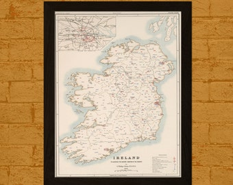 Get 1 Free Print *_* Ireland Map 1881 Sanitary Conditions - Ancient Map Wall Art Antique Map Poster Old Map Print Map Wall Decor Ireland Map