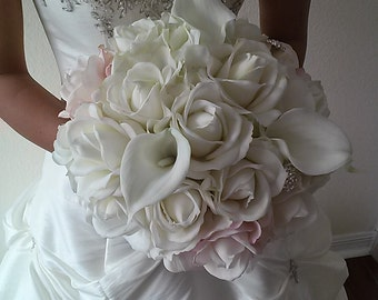 Real Touch Rose and Calla Lily Bouquet with Groom's Boutonniere-Pink and White Bouquet- Silk Flower Wedding Bouquet