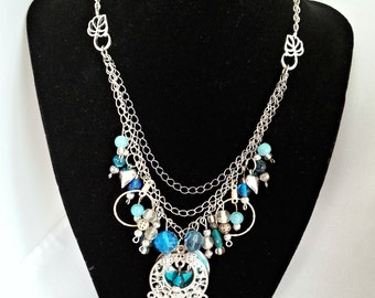 Shabby Chandelier Necklace ~ Robin's Egg Blue Messy Chain Necklace ~ Messy Chain Necklace ~ Blue Chain Necklace ~ Chandelier Necklace