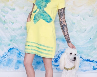 Yellow dress/ blue fish illustration/