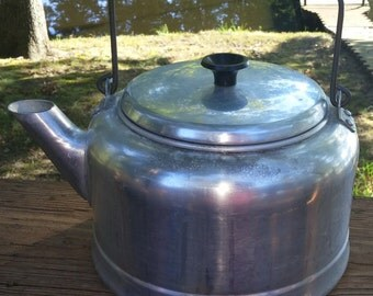 On Sale Crafting/Decor Only- 50's Comet Aluminum Kettle-The Popular Aluminum Made in the USA-Hole in Bottom of Kettle