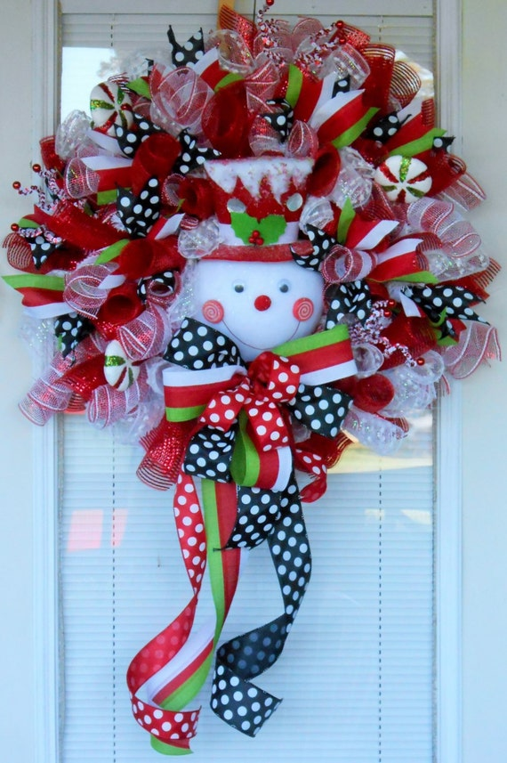 xxl snowman christmas mesh wreath holidaywreath snowman. Black Bedroom Furniture Sets. Home Design Ideas