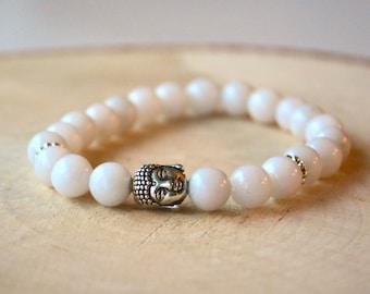 Bracelet pour femmes pierres semi-précieuses - Jade blanc - Bouddha