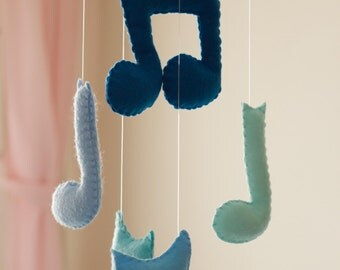 Baby Boy Mobile, Music Notes Mobile, Blue Baby Mobile, Music Notes Crib Mobile, Baby Boy Room Decoration, Felt Baby Boy Mobile