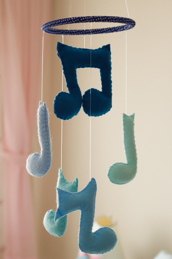 baby boy mobile music notes mobile blue baby by dreamflakeshop. Black Bedroom Furniture Sets. Home Design Ideas