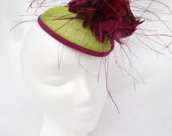 Handmade sinamay beret fascinator