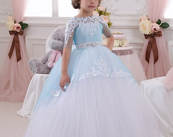 White and Blue Flower Girl Dress - Wedding Party Holiday Birthday Bridesmaid Flower Girl White and Blue Tulle Dress