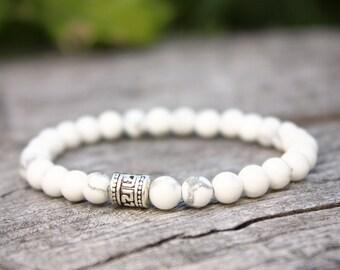 Howlite Bracelet, White Howlite Bracelet, Natural Howlite Bracelet, Chakra Bracelet, Meditation Bracelet, Mens Beaded Bracelet, Wrist Mala