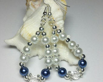 20% DISCOUNT SALE, Blue White Glass Pearl Teardrop Earrings, Silver Handmade Costume Jewellery, Bridesmaids Gift, Wedding Jewellery