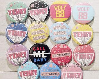 EXO kpop button pins / yehet / kkaebsong / growl / call me baby / monster / wolf 88 pins button badges | exo pins | exo badges | kpop pins