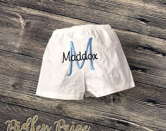 Baby Boys Boxer Shorts PERSONALIZED Boys Shorts Monogrammed Back Baby Shower Gift Layette Coming Home Outfit Baby Boy Custom Made To Order