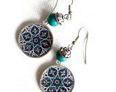 TARA Oriental dangle earrings - Persian tile design Earrings - Persian jewelry- Oriental - star