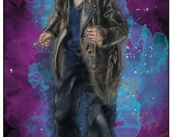 Ninth Doctor Christopher Eccleston 9th Dr Who Inspired Splash Style A4 Original Art Print