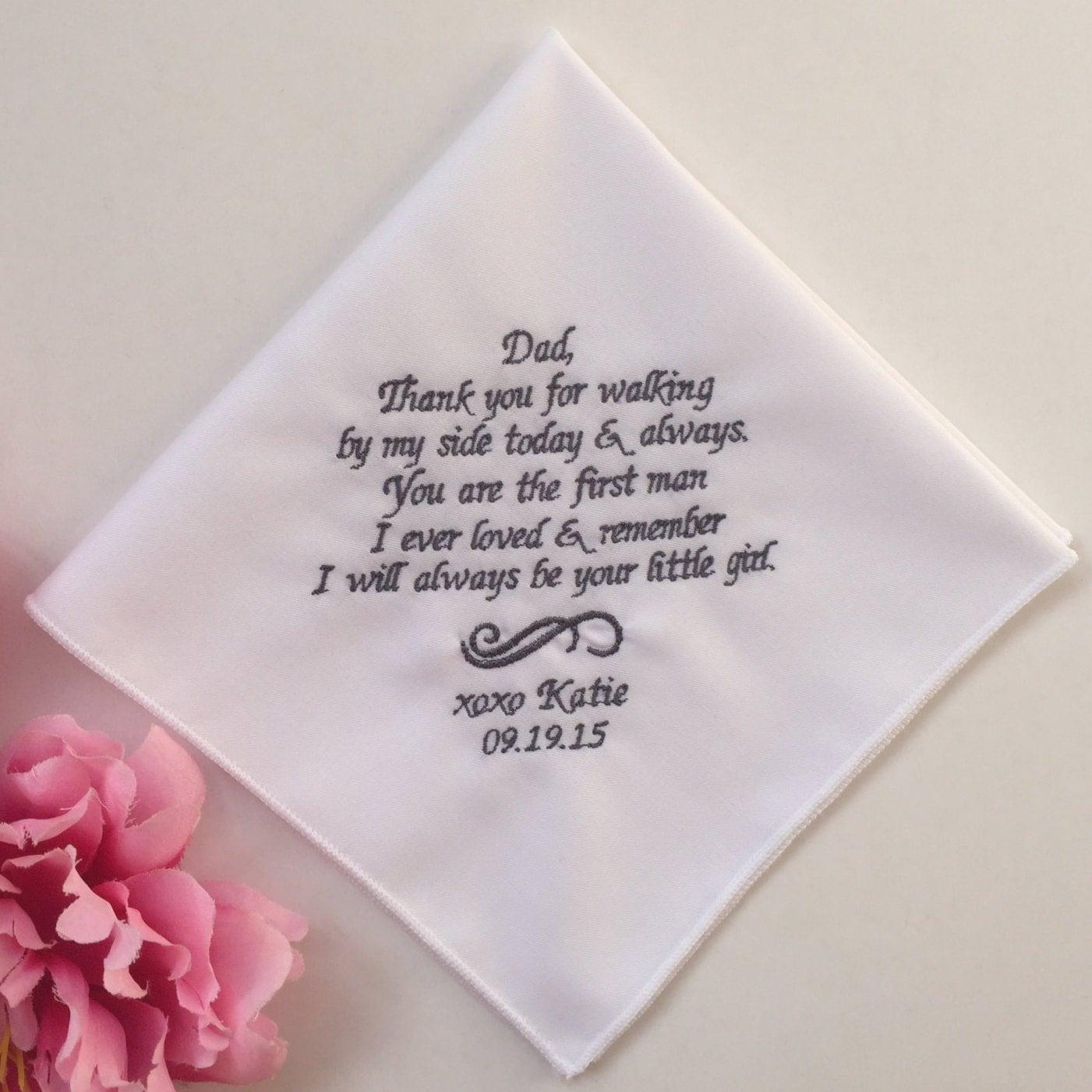 Wedding Handkerchief For Dad Embroidered Wedding