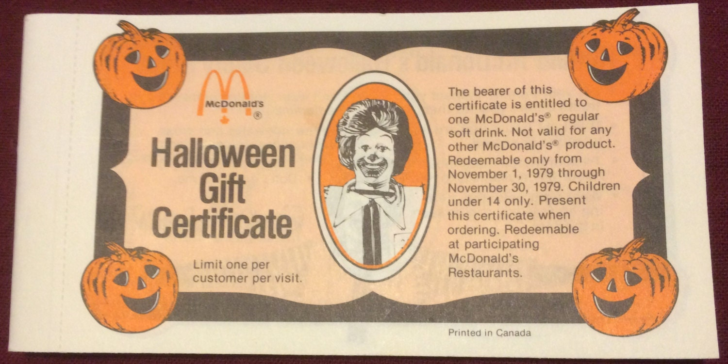 Mcdonald s gift certificate booklets canada lamoureph blog zoom zoom 1979 mcdonald s gift certificate booklet xflitez Images